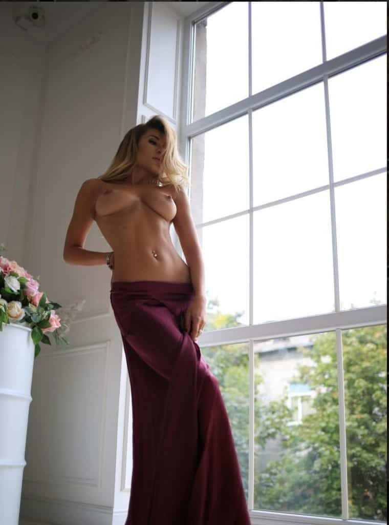 Lauren Standing Topless With Dark Red Wrap